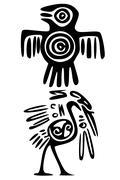 Mayan and inca tattoo symbols Stock Illustration