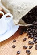 Stock Photo of coffee beans and espresso