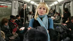 Atractive woman on Barcelona subway Stock Footage