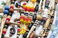 Wood and seashell bead necklaces Stock Photos