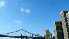 Driving in New York Under Manhattan and Brooklyn Bridge Stock Video Stock Footage