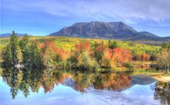 Mount Katahdin reflection - stock photo