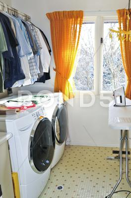 Stock photo of laundry room