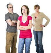 Teenage girl in trouble with parents Stock Photos