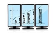 Chart on monitors Stock Illustration