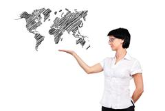 Woman and map Stock Illustration