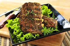 spare rib dinner - stock photo