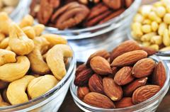 bowls of nuts - stock photo