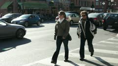 Pedestrians in Georgetown Washington DC Stock Footage