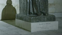 Statue of the most known Croatian literate Marin Drzic Stock Footage