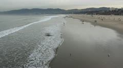 Beach at Santa Monica Pier Stock Footage
