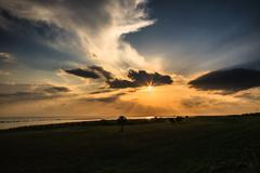 Florida Sunset Crepuscular Rays Cloudscape - stock photo
