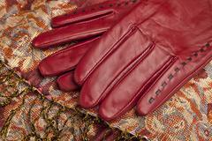 red leather gloves - stock photo