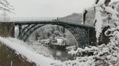 Ironbidge covered in snow, Shropshire Stock Footage