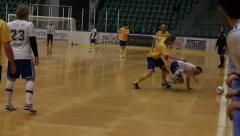 Rough situation in indoor soccer/football Stock Footage