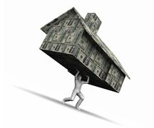 Man Lifting House Made Of Money - stock illustration