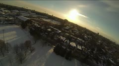 Winter City Skyline Shot - Residential from a helicopter. Stock Footage