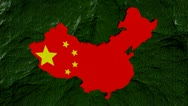 China map flag with moving binary background animation Stock Footage