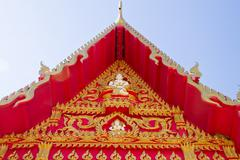 Roof of thai temple, wat dhampra, ubonratchathani province, thailand Stock Photos