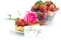 Piece of apple pie, a card with the words thank you, cinnamon, pink rose, alm Stock Photos