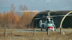 Ridiculously looking helicopter for sea investigation goes for take-off Stock Footage