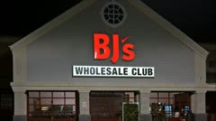 BJ's Wholesale club storefront loop - stock footage