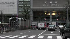 Street In Front Of Osaka Station Stock Footage