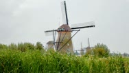 Windmill in Kinderdijk, Holland Stock Footage
