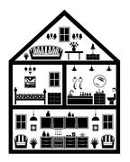 Icon of house with planning - stock illustration