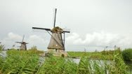 Windmill in Kinderdijk, Holland Stock Footage