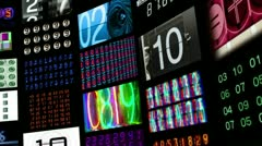 Number collection video wall data multi screen Stock Footage