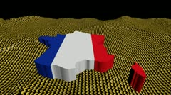 France map flag in abstract ocean of Euro symbols animation Stock Footage