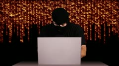 Hacker Working Table Arrested - stock footage