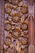 wood carving decorated at windows of the temple - stock photo