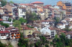 congested residential district of veliko tarnovo - stock photo