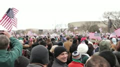Inauguration crowd cheering Obama Stock Footage