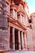 the treasury in ancient nabatean city of petra - stock photo