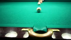 Playing pool, ball closeup view Stock Footage