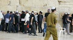 Jews near Western Wall in Jerusalem, Israel Stock Footage