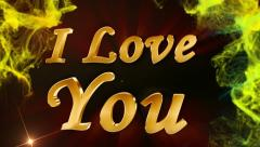 I love you 1 text red 2  Stock Footage