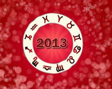 christmas astro 2013 background with horoscope symbols - stock illustration