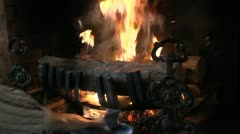 Man Crumples Paper In Fireplace Time Lapse Stock Footage