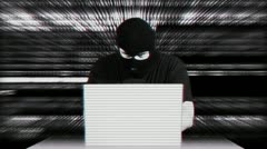 Hacker Working Table Arrested Matrix - stock footage