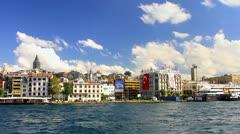 Karakoy from the waterside, Istanbul, Turkey. Stock Footage