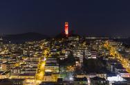 Coit tower night san francisco Stock Photos