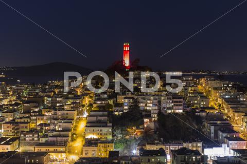 Stock photo of coit tower night san francisco