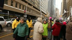 Protest against industrial wind turbines Stock Footage
