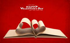 Book with opened pages of shape of heart Stock Illustration
