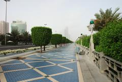 the corniche in abu dhabi - stock photo