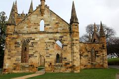 Historic convict church at port Arthur, Tasmania - stock photo